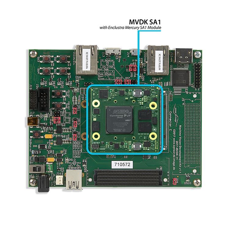 "MVDK SA1: MVDK board with <a href=""https://www.enclustra.com/en/products/system-on-chip-modules/mercury-sa1""  target=""_blank"">Enclustra Mercury SA1 Module</a>"