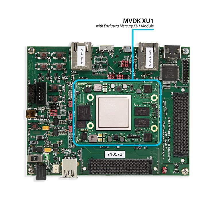 """MVDK XU1: MVDK board with <a href=""""https://www.enclustra.com/en/products/system-on-chip-modules/mercury-xu1""""  target=""""_blank"""">Enclustra Mercury+ XU1 Module</a>"""