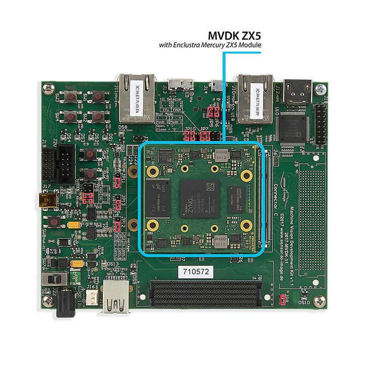 """MVDK ZX5: MVDK board with <a href=""""https://www.enclustra.com/en/products/system-on-chip-modules/mercury-zx5""""  target=""""_blank"""">Enclustra Mercury ZX5 Module</a>"""